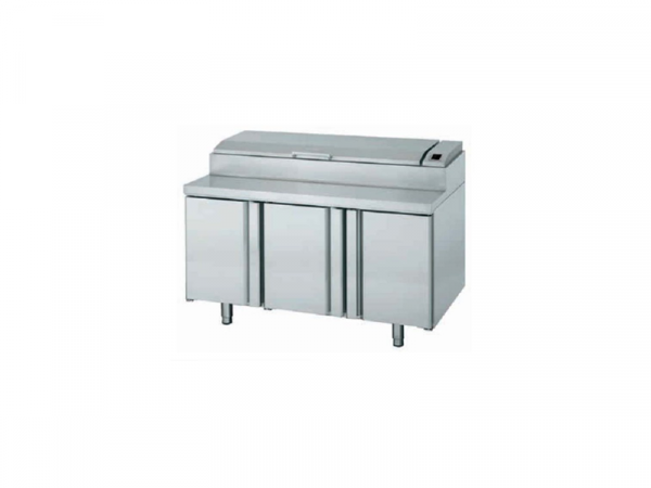 Mesa y bandeja superior refrigeradas para ensaladas y pizza marca INFRICO modelo MEV1500