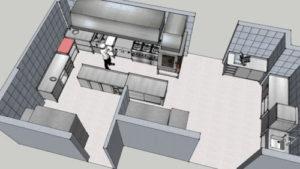 proyectos en 3d - diseños 3d de espacios de trabajo - diseño cocinas profesionales