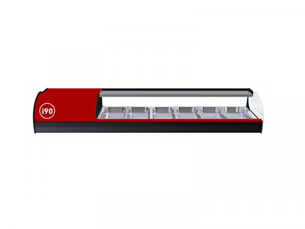 Vitrina refrigerada Onix cristal doble curva marca i90 modelo ONIX 6 bandejas