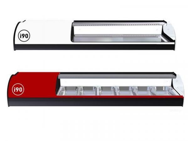 Vitrina refrigerada Onix Sushi marca i90 modelo cuba plana y de 6 bandejas