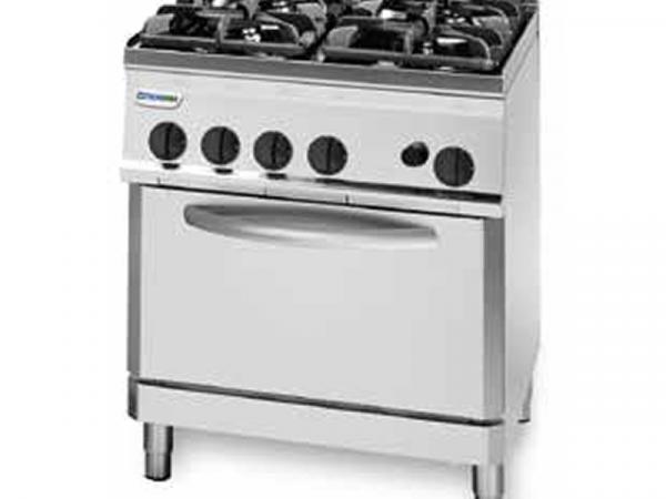 Cocina a Gas Fondo 700 marca TECNOINOX modelo PF70G7 de 4 fuegos y horno eléctrico